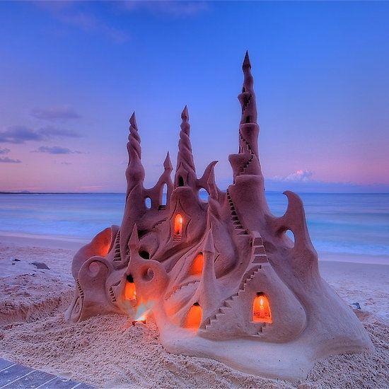 Illuminated Sand Castle. Challenge yourself to building one of these on your next visit to Myrtle Beach?