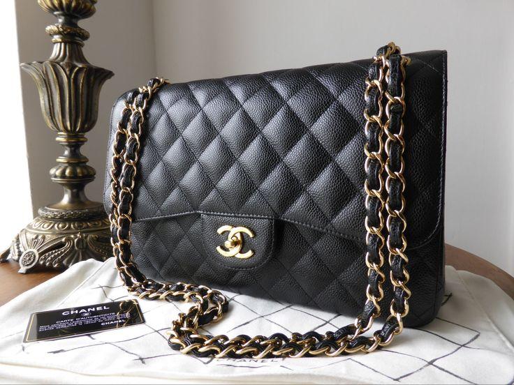 Chanel Timeless Classic 2.55 Jumbo Flap Bag in Black Caviar