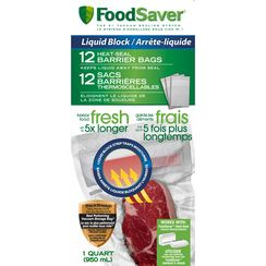 Foodsaver Liquid Block Quart Size Bags (12 count), FSFSBFLB216-033