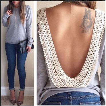 USD8.99Cheap Sexy O Neck Long Sleeves Backless Floral Lace Trim Solid Grey Cotton Blend T-shirt