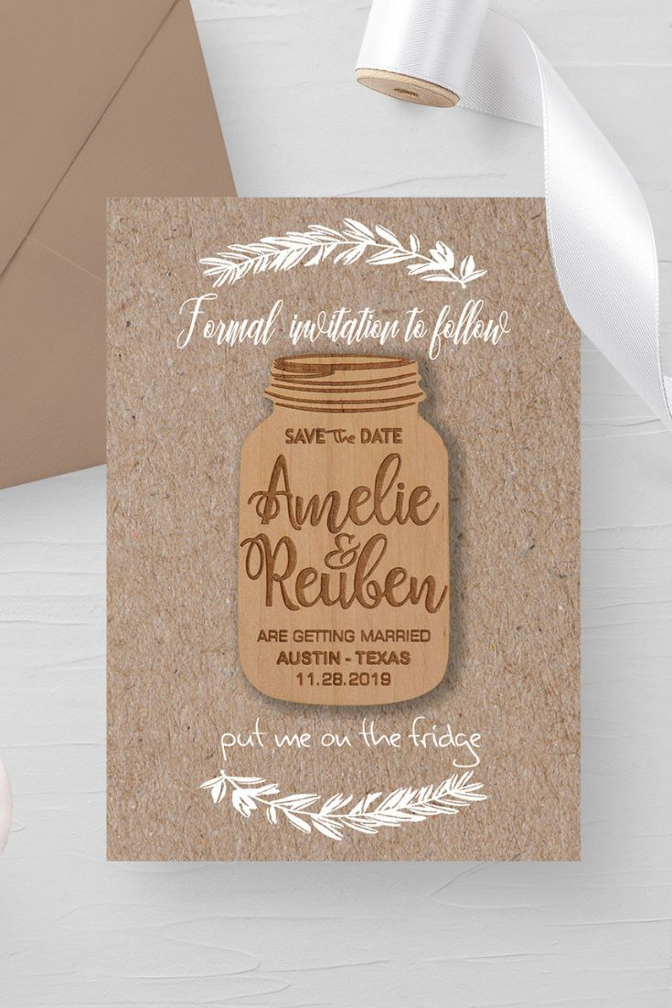 Mason Jar Save The Date Magnet Magnets Are Made Of Natural Wood