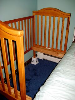 "Put Crib on Risers for Extra Under-Bed Storage - This family used risers for ""Sidecarring"""