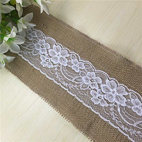 LaRibbons 15cm x 240cm Vintage Rustic Burlap Lace Chair Sash - 10 Pack   Price: 	£32.99 & FREE Delivery in the UK.