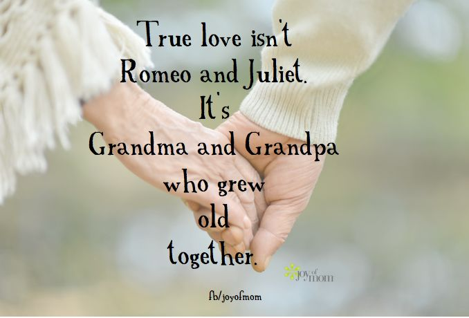 ♥ True love isn't Romeo and Juliet.  It's Grandma and Grandpa who grew old together.  ♥