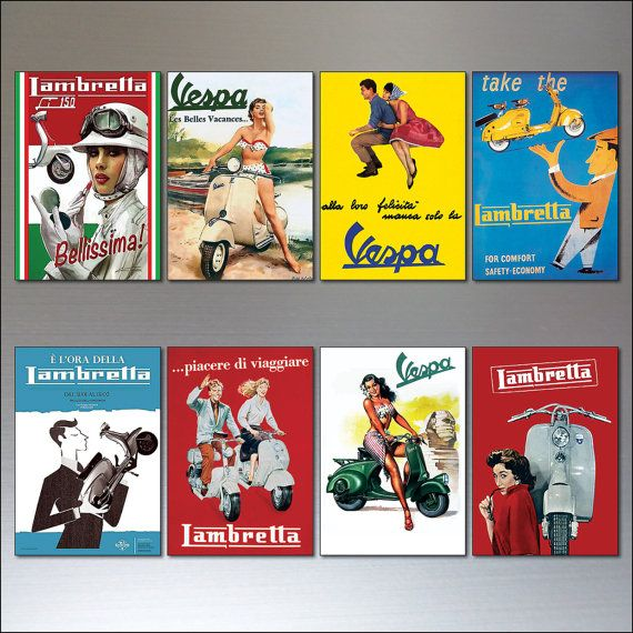 Vintage Italian scooter Vespa Lambretta motorbike adverts set of 8 fridge magnet.