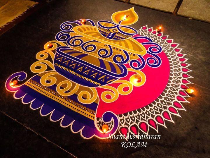 #kolam#rangoli#lamp#vilakku#blue#yellow#pink