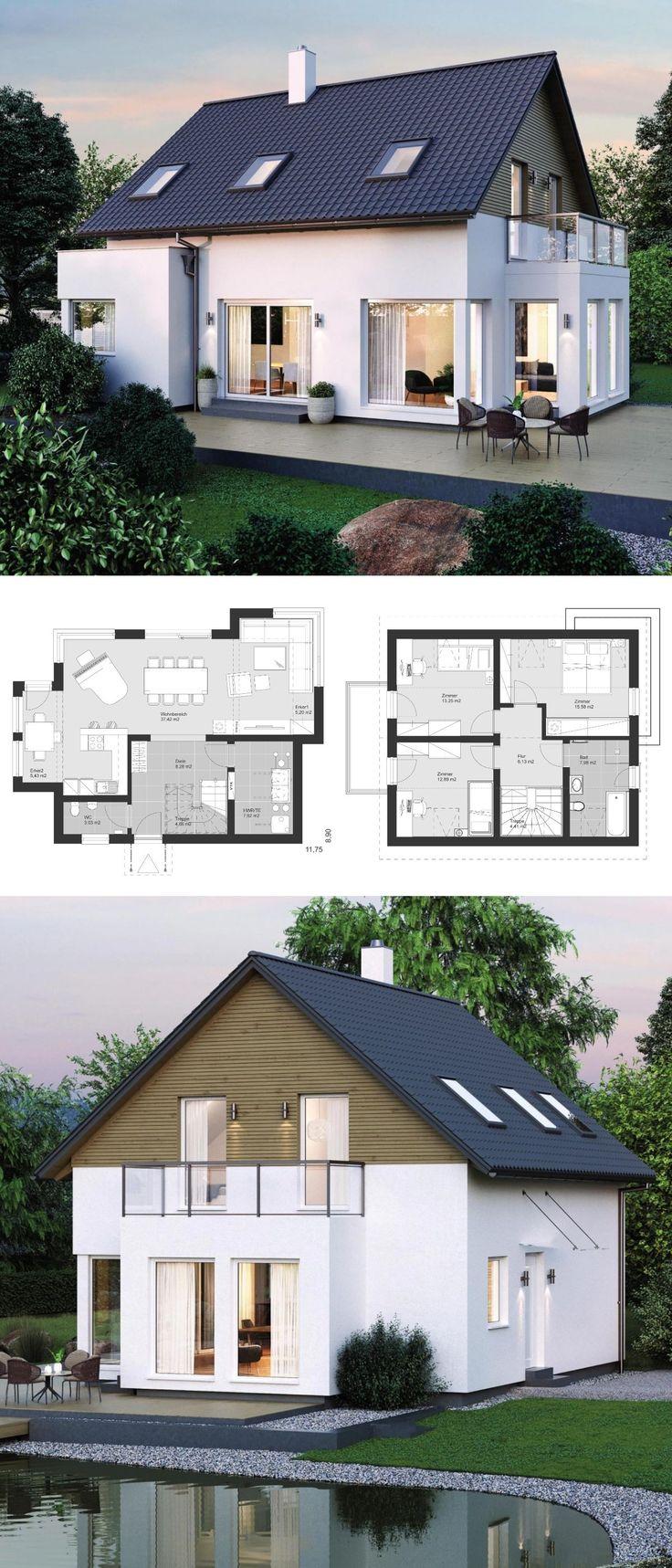 Modernes einfamilienhaus im landhausstil grundriss mit for Modernes einfamilienhaus grundriss
