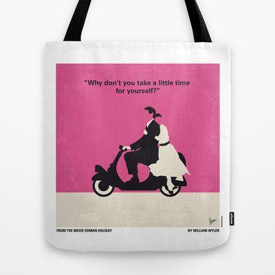 No205 My Roman Holiday minimal movie poster Tote Bag by Chungkong - $22.00