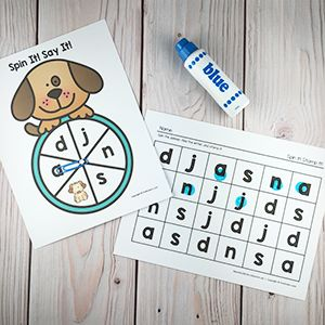 Children will practice letters & sounds with this Spinner Game from the PreKinders Shop.