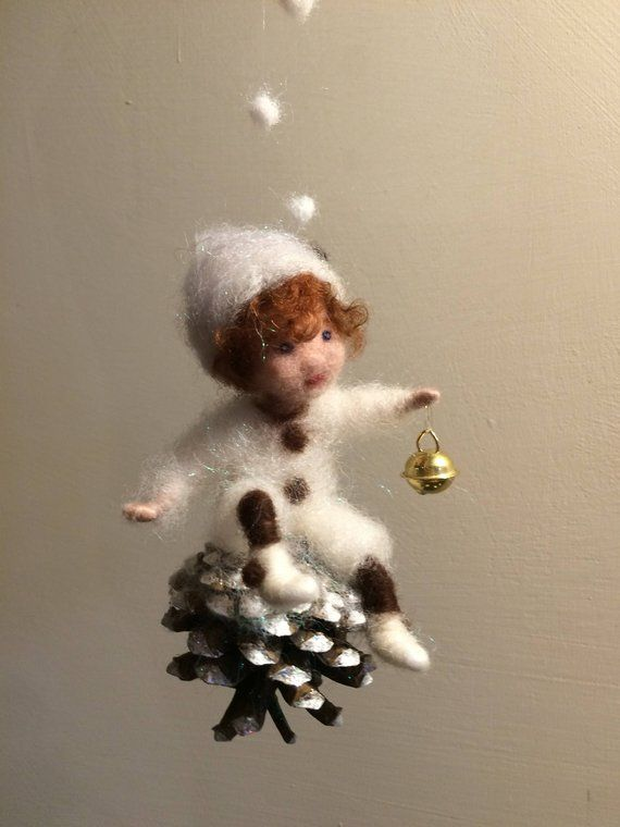Nelle felted Christmas fairy, Waldorf inspired, Christmas doll, White Snowflake, Christmas gift, Christmas decor