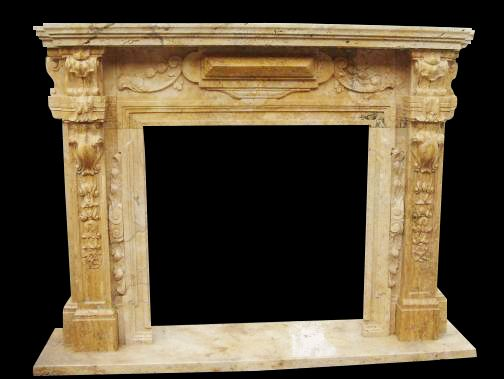 Great Marble Fireplace Mantel in Travertine Marble, Tuscan Old World Design #1562