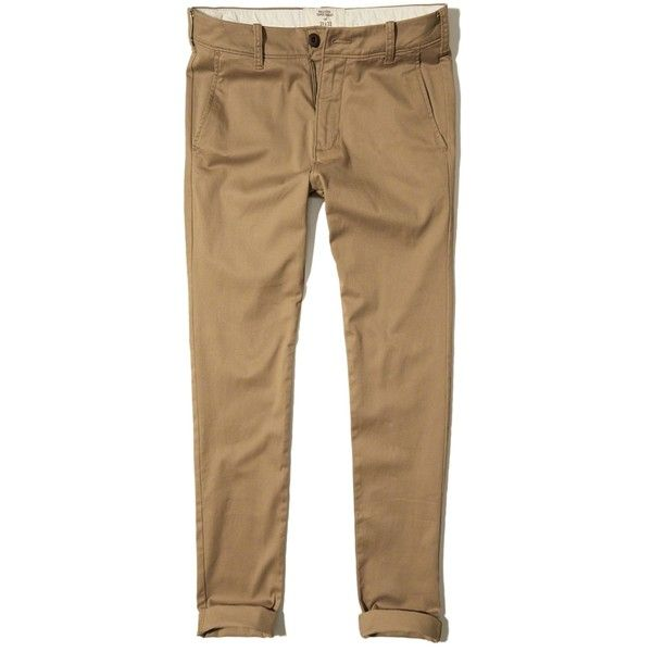 Hollister Super Skinny Zipper Fly Chinos ($25) ❤ liked on Polyvore featuring men's fashion, men's clothing, men's pants, men's casual pants, dark khaki, mens zipper pants, mens skinny fit dress pants, mens skinny chino pants, mens skinny pants and mens twill pants