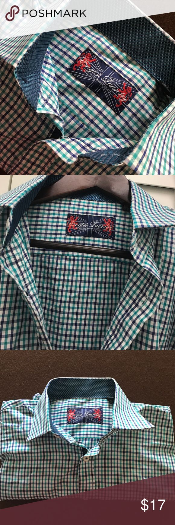 Men's Button Down English Laundry dress shirt NWT/NEVER WORN English Laundry brand dress shirt. White blue and green checkered stripes, ornate inside neck line and inside sleeve. 100% Cotton. 15 1/2 and 32/33 English Laundry Shirts Dress Shirts
