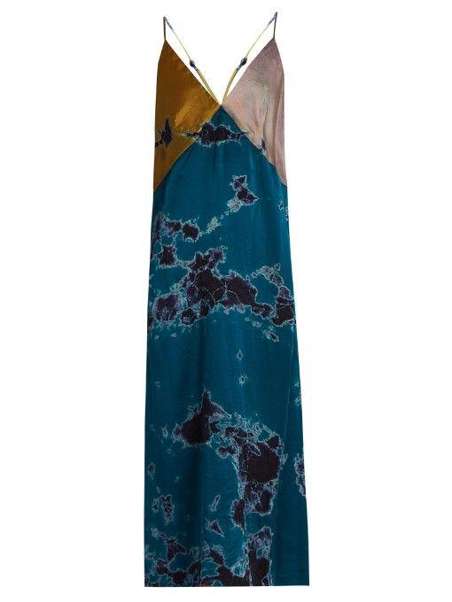 Raquel Allegra Patchwork tie-dye silk-charmeuse dress