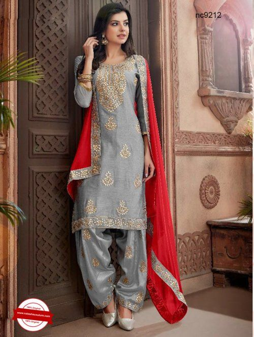 534e8f7b4a Grey Chanderi Patiala Suit | Buy patiala suits online shopping at  www.natashacouture.com