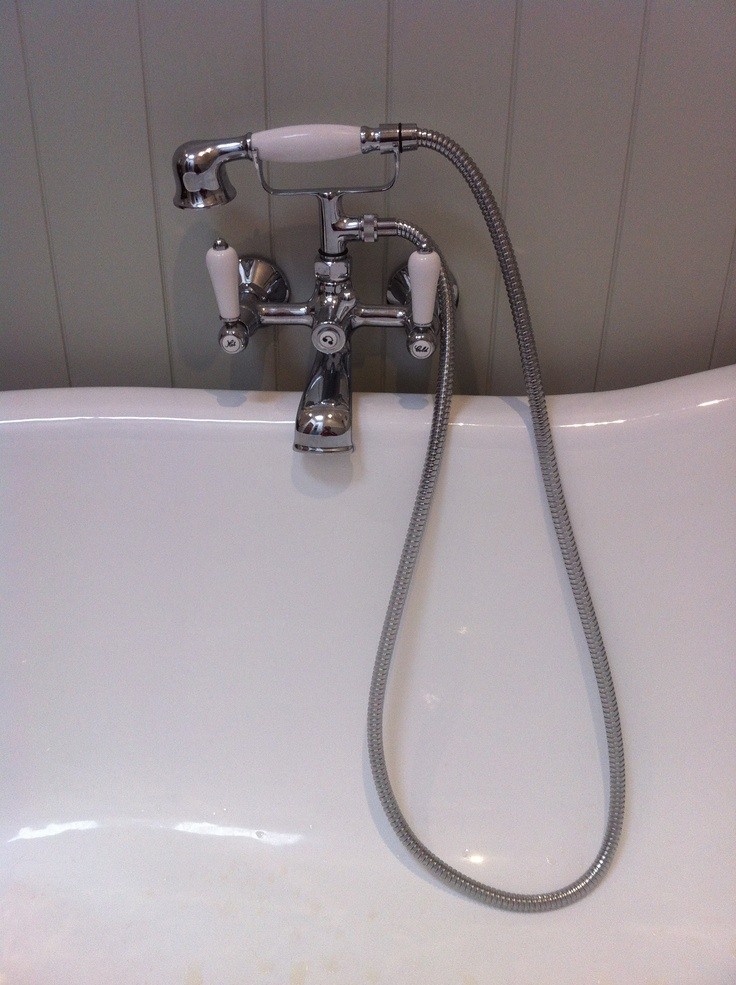 """Details - bath tap - according to the professionals, taps are the """"jewellery"""" of the room - so I splurged on some vintage inspired pieces.  I love porcelain handles - I carried these through into my kitchen also"""