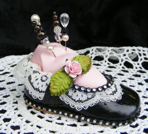 Altered Baby Girl Dress Shoe Pin Cushion Flower Lace Rhinestones by Toni   eBay