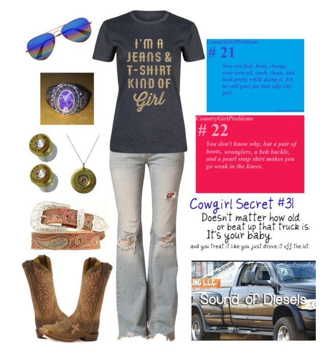 """Can't believe girls bleach their hair and call themselves """"blonde"""" by pistols-n-pearls on Polyvore featuring polyvore, fashion, style, Rodeo Rags, Free People, Tony Lama, Bullet, Ray-Ban, Nocona, country and clothing"""