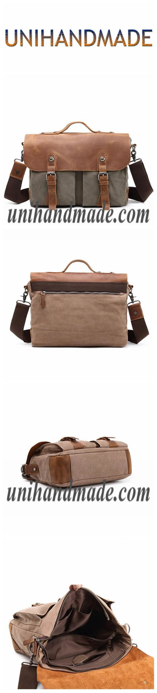 Waxed Canvas With Full Grain Leather Waterproof Messenger Bag 1023