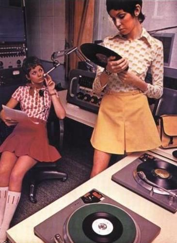 Girls working at a recording studio