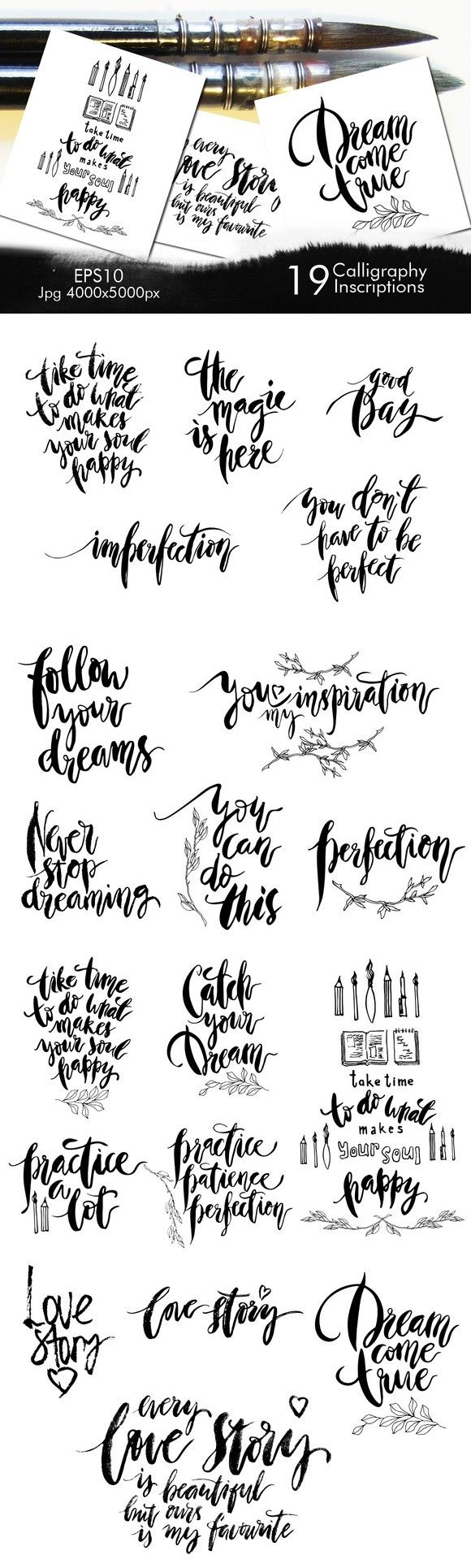 Set of calligraphy inscriptions.. Romantic Fonts. $10.00