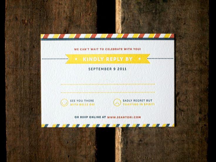 Sean + Toriu0027s Modern Primary Color Wedding Invitations