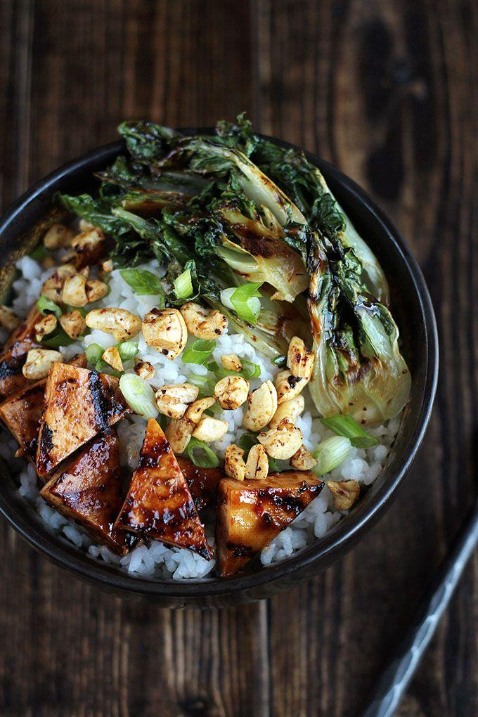 Pulo Grilled Tofu Bowl with Baby Bok Choy & Cashews - ilovevegan.com