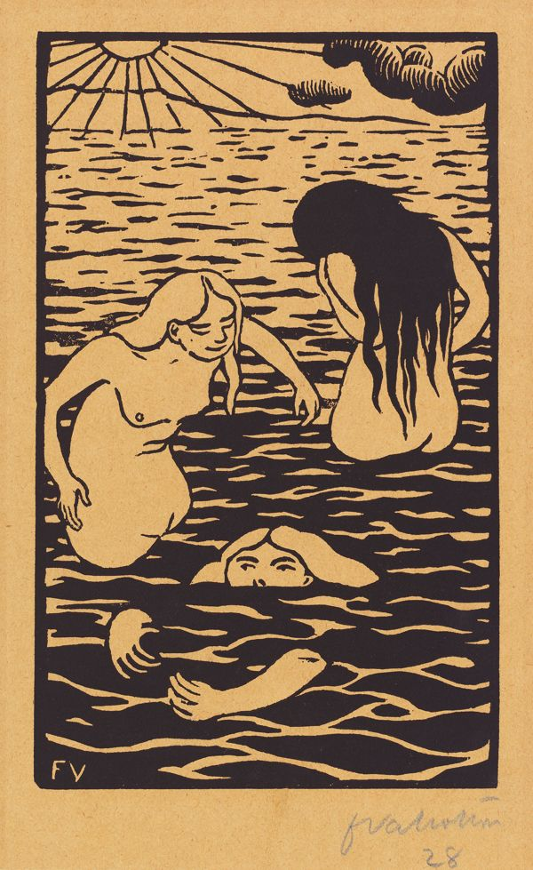 "Félix Vallotton, Three Bathers, 1894, Woodcut on beige wove paper, 11-5/16 x 8-5/8"", National Gallery of Art, Washington. Gift of Gaillard F. Ravenel and Frances P. Smyth-Ravenel, 2000."