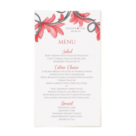 painted wedding menu template editable text destiny coral pink karma k