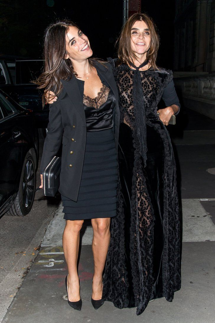 Pin for Later: The Fashion Crew Got All Laced Up For Last Night's Dinner Party Julia Restoin Roitfeld and Carine Roitfeld The duo showed off their lacy all-black outfits before dinner. Obviously, this was one strict dress code!