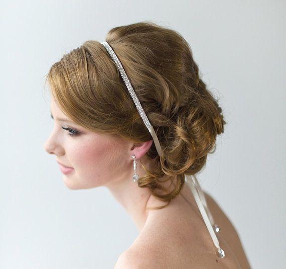 Bridal Ribbon Headband, Luxe Satin Ribbon Headband, Wedding Head Piece, Rhinestone Ribbon Headband on Etsy, $37.66