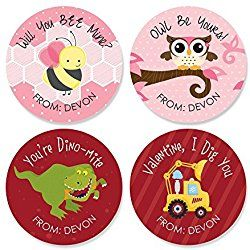 Custom Valentine's Day - Assorted Personalized Valentine's Day Party Circle Sticker Pack - Set of 24