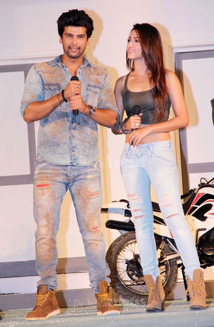 Gauhar (Gauahar) Khan swapped her dress for a pair of ripped jeans tank top and boots at u0026#39;Fear ...