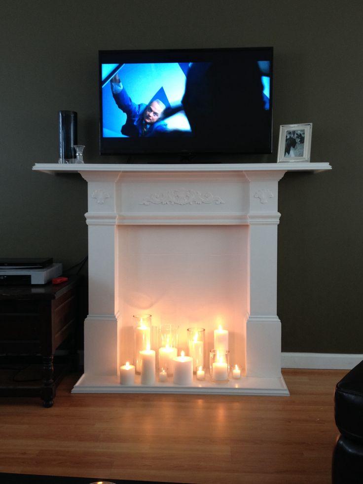 diy faux fireplace tv stand for the home pinterest diy. Black Bedroom Furniture Sets. Home Design Ideas