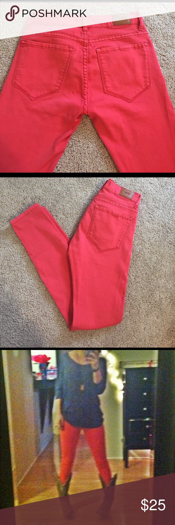 UO bright red skinnys Super cute bright red skinny jeans from Urban Outfitters! Jegging style stretch. Super comfy and fun to brighten up a holiday outfit or night out! Only a small pen dot as shown in the photo, otherwise great condition! Would be keeping but they are a little small on me now. Urban Outfitters Jeans Skinny