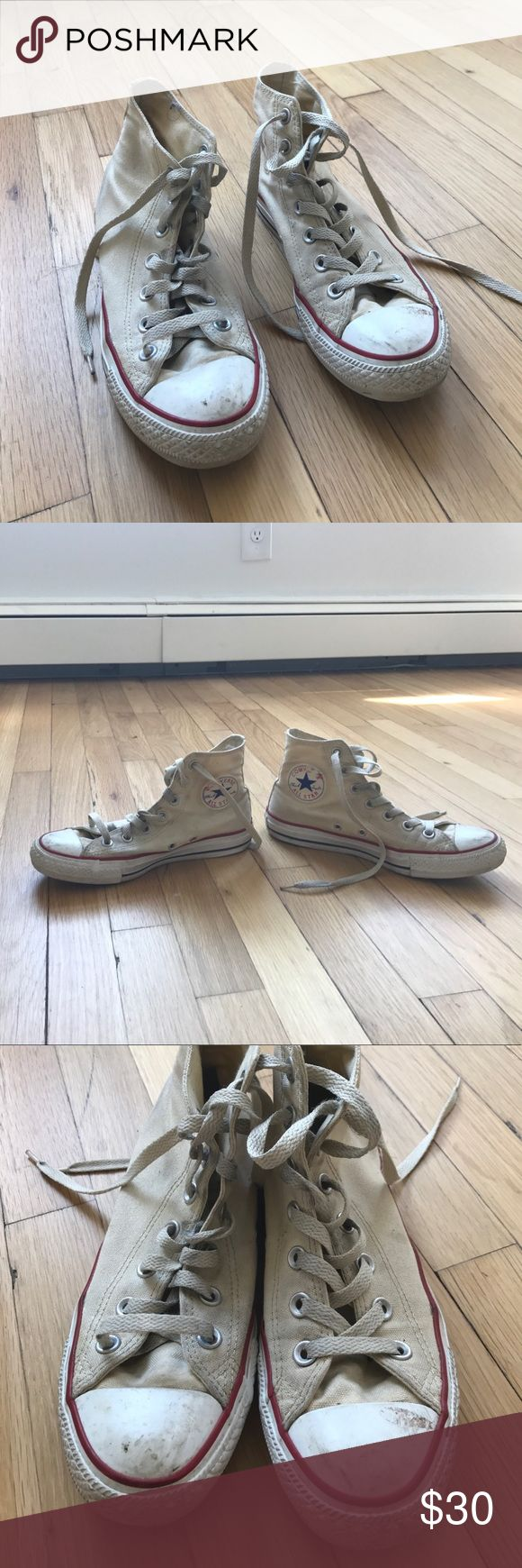 Cream Converse High Tops Size Womens 7 mens 5 Super cute sneakers for summer! Cream colored high tops women's size 7, EU size 37.5, mens size (I'm a womens size 7.5 and these fit perfectly so they run a little big) Converse Shoes Sneakers