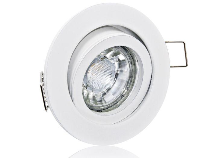 LED Einbaustrahler Set mit Marken GU10 LED Spot Bioledex Helso 3 Watt COB Alu-Druckguß Rund Weiß Klickverschluß
