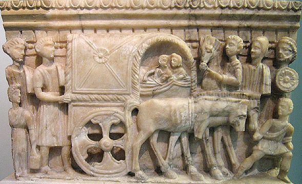 Carro coperto (carpentum) - rilievo da un'urna cineraria etrusca da Volterra (I° sec.a.C.)