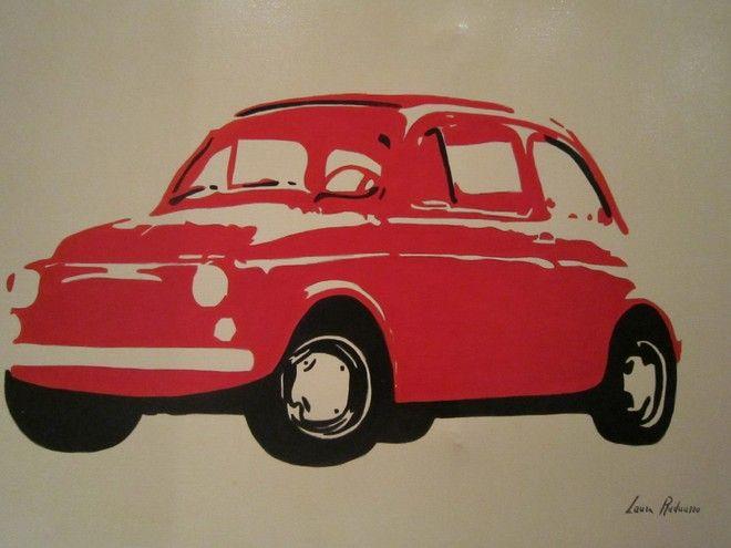 (¯`'•.FIAT 500.•'´¯) quadro dipinto a mano moderno, stile pop art 50X70