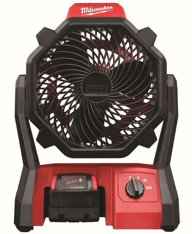 Milwaukee's new jobsite fan moves air at 284 cubic feet per minute and can run on battery power for ... - Courtesy of Milwaukee Tool
