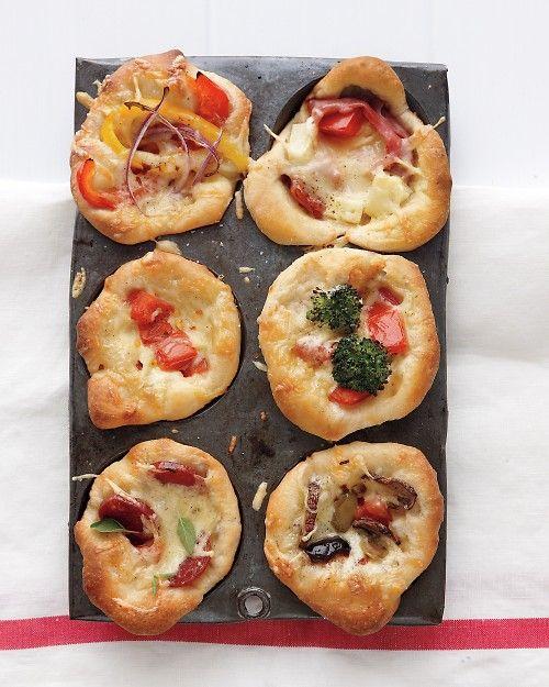Mini Deep-Dish Pizzas, made in a muffin tin >> What fun!