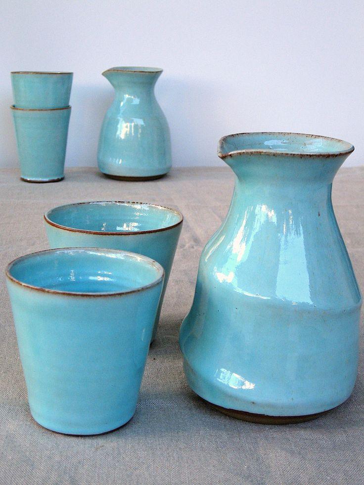 jarra turquesa jarra de agua jarra de cerámica cerámica