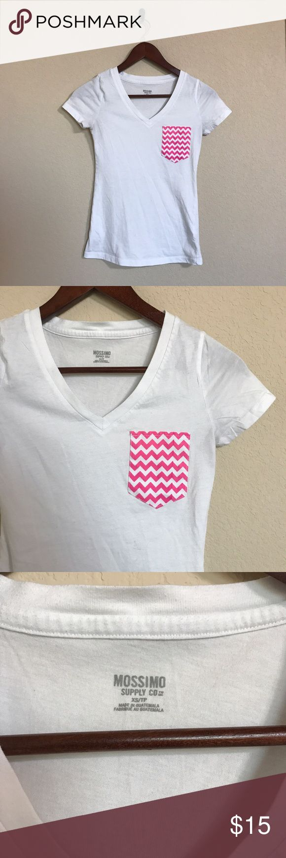 Pink Chevron Pocket Tee This Tee is gently used with an adorable chevron pocket. Size XS from brand Mossimo. Make offers! 💞 Mossimo Supply Co. Tops Tees - Short Sleeve