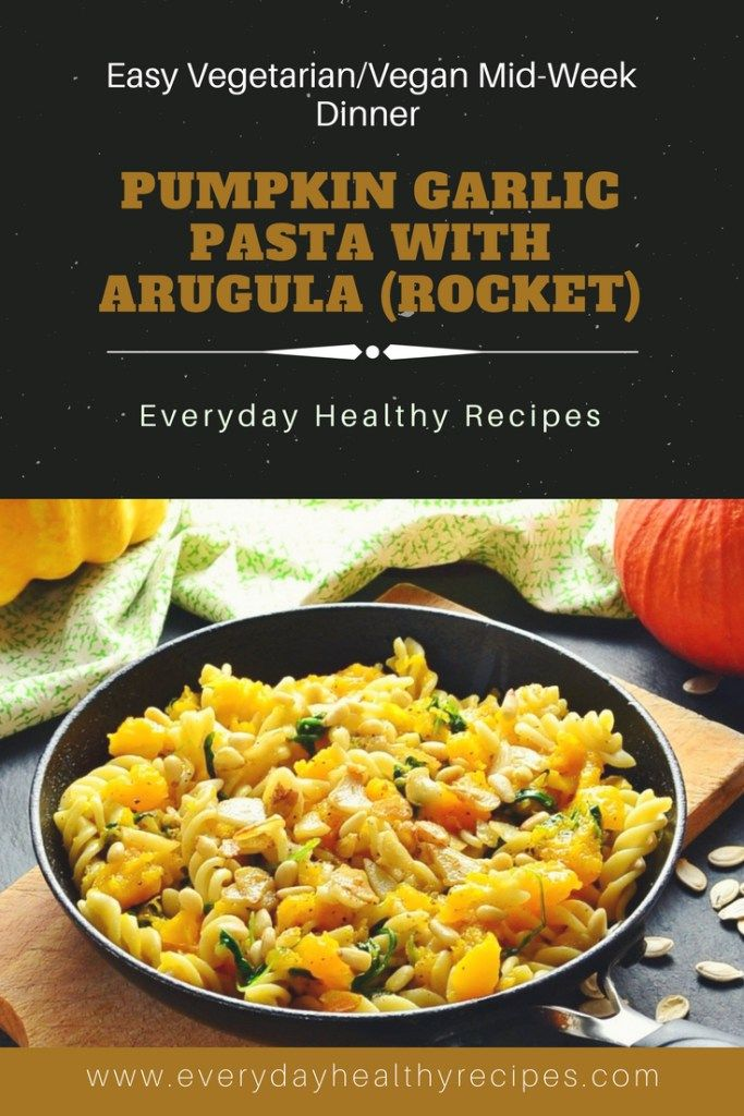 Pumpkin Garlic Pasta with Arugula (Rucola/Rocket Leaves) #pasta #pumpkin #midweekmeals #vegan #vegetarian #halloween #lovefood #healthyfood #easyrecipe