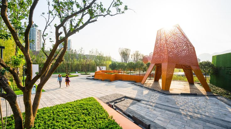 Galeria - Arquitetura e Paisagem: Pavilhões de metal perfurado se elevam no parque, por Martha Schwartz - 6