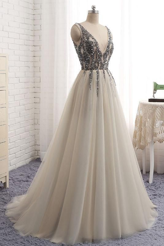 71e6f6f0324 A-line V-neck Floor-length Tulle Prom Dress Evening Drsess With Beadin –  AmyProm