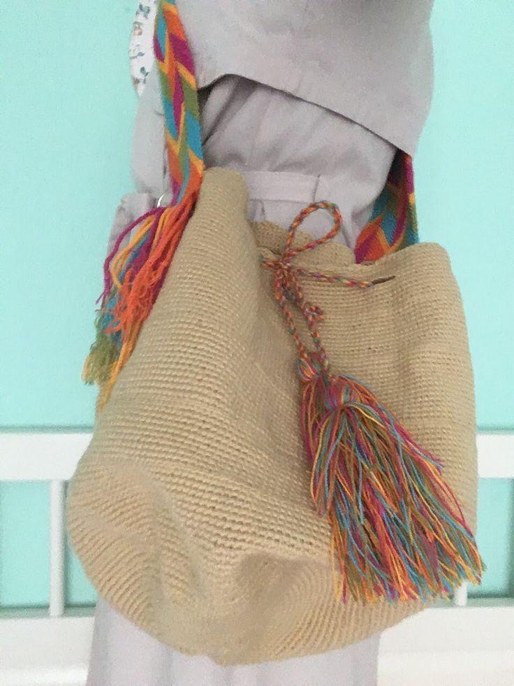Beige effen Mochila #schoudertas #mochila #Wayuu #fairtrade #hippybag.nl