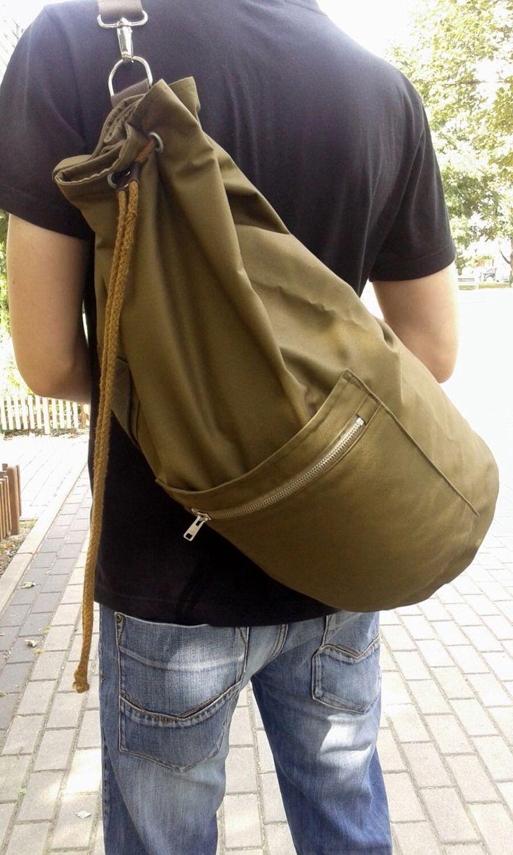 Waterproof Sailor bag / backpack. Drawnstring Sailor Bag/ Warm green cotton bag…