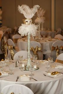 Masquerade Wedding · Centerpiece Ideas~ Maybe With Multicolor Blue Sparkles  With Peacock Feathers Out Of The Vase