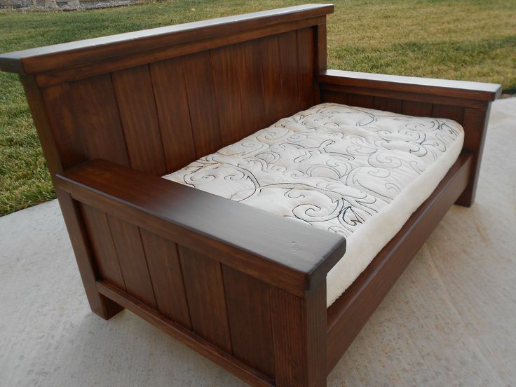 Furniture. white pattern daybed mattress with brown varnished wooden frame on grey floor. Awesome Looks Of Diy Daybed To Complete Your Interior Decoration